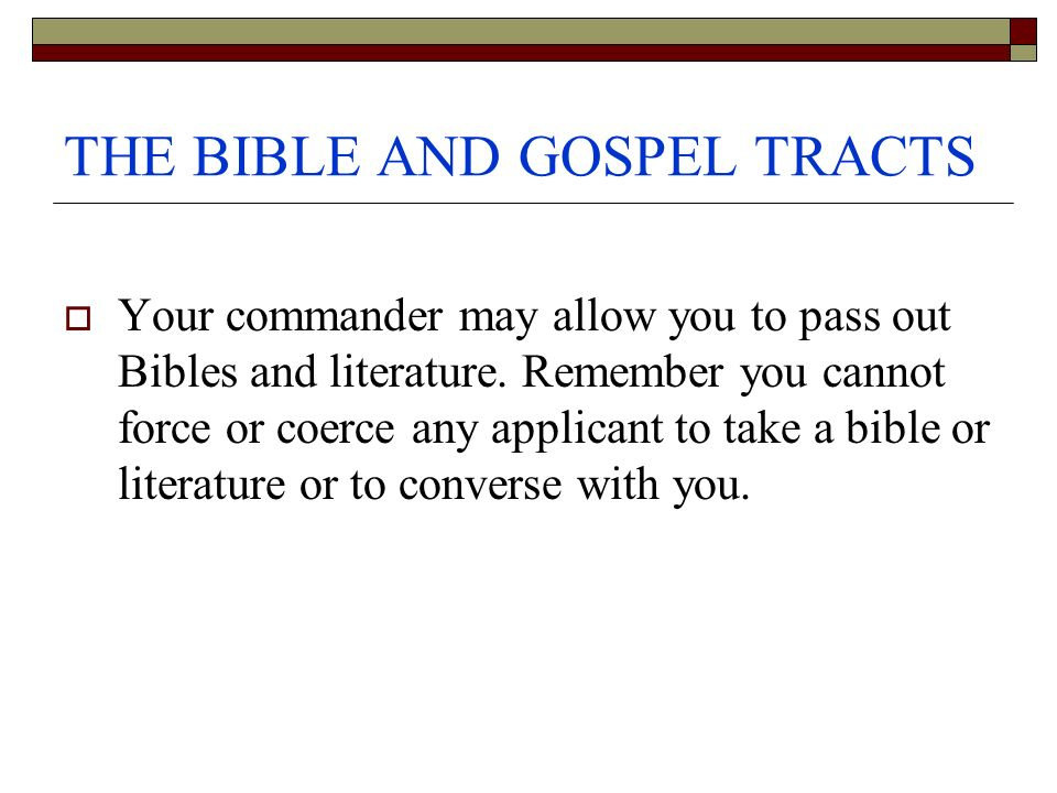 THE BIBLE AND GOSPEL TRACTS