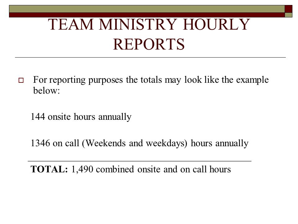 TEAM MINISTRY HOURLY REPORTS