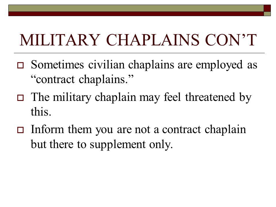 MILITARY CHAPLAINS CON'T