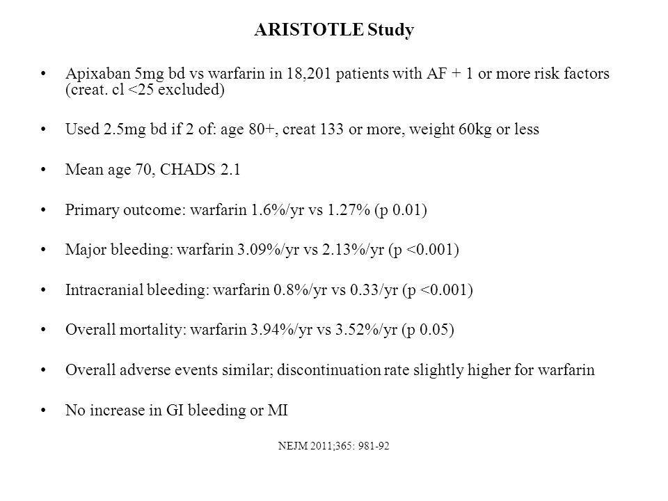 ARISTOTLE Study Apixaban 5mg bd vs warfarin in 18,201 patients with AF + 1 or more risk factors (creat. cl <25 excluded)