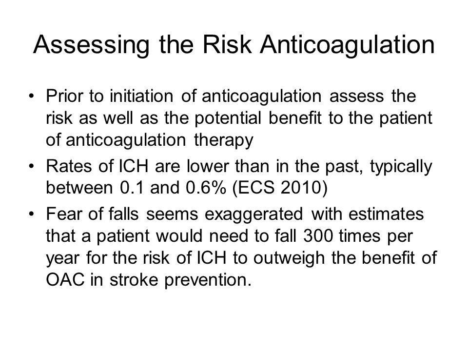 Assessing the Risk Anticoagulation