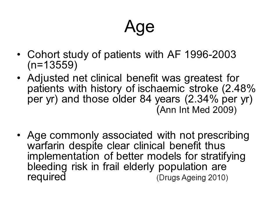 Age Cohort study of patients with AF 1996-2003 (n=13559)
