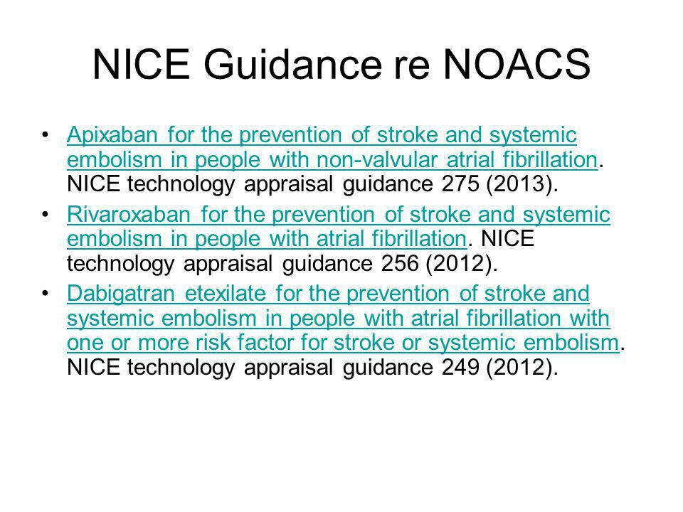 NICE Guidance re NOACS