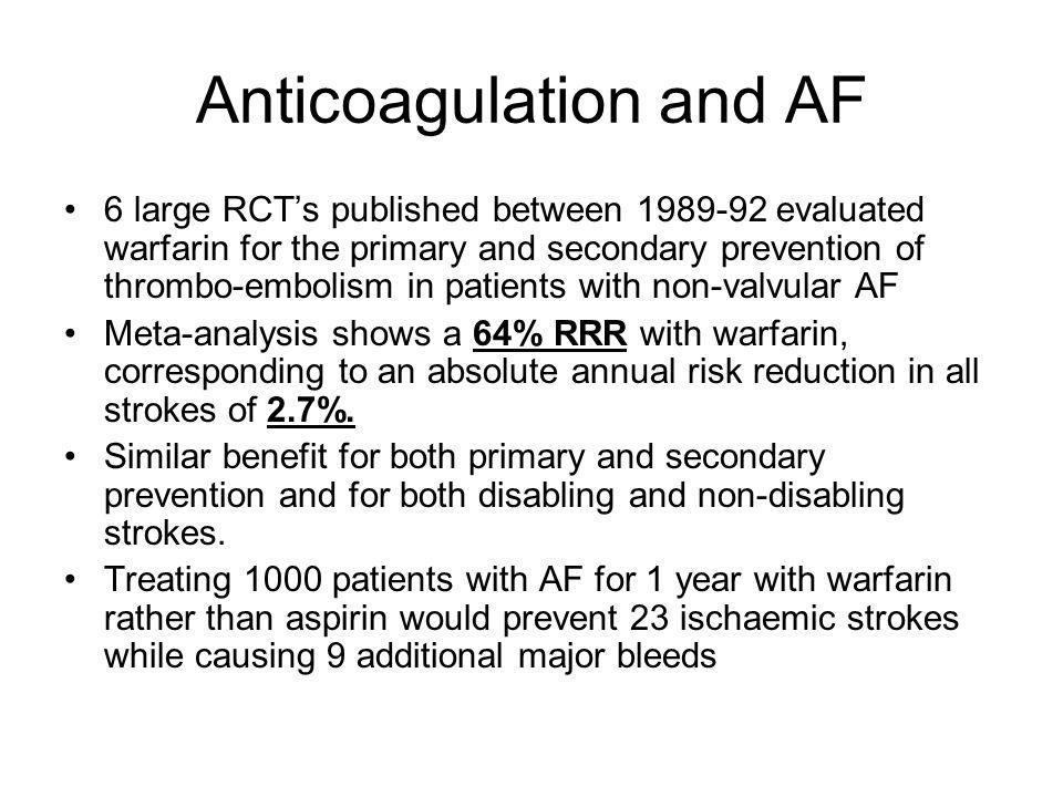 Anticoagulation and AF