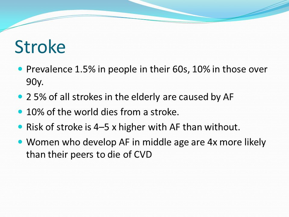 Stroke Prevalence 1.5% in people in their 60s, 10% in those over 90y.