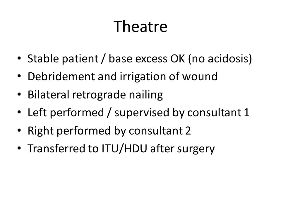 Theatre Stable patient / base excess OK (no acidosis)