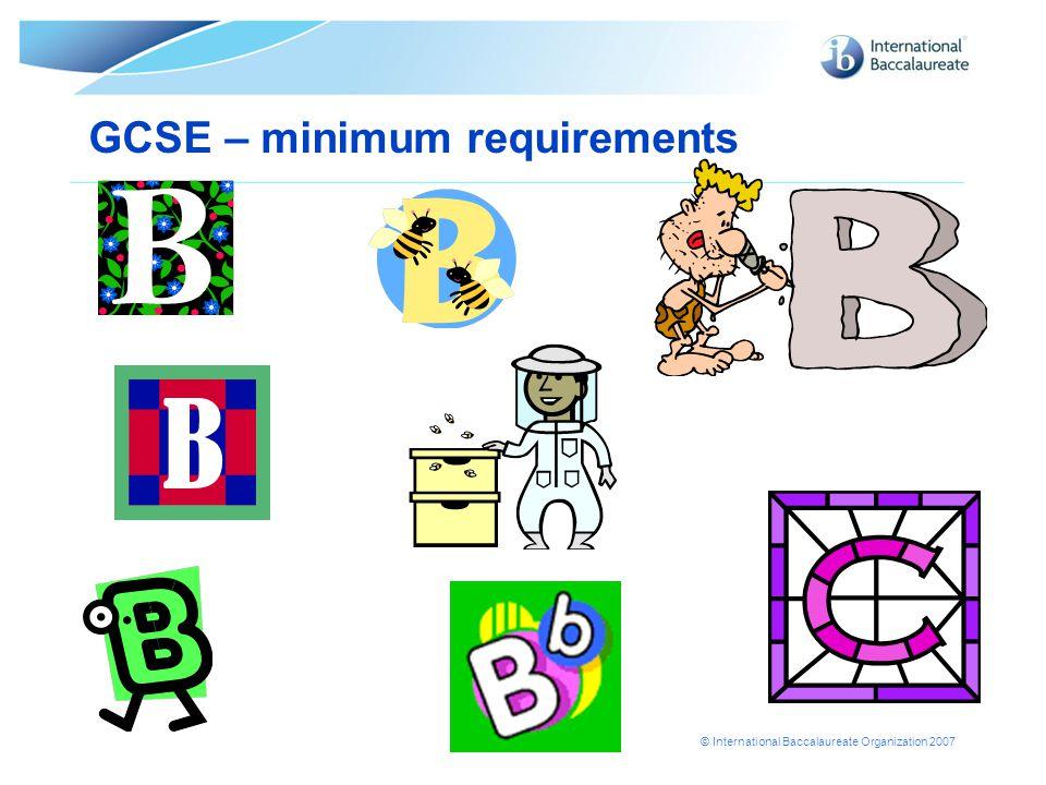 GCSE – minimum requirements