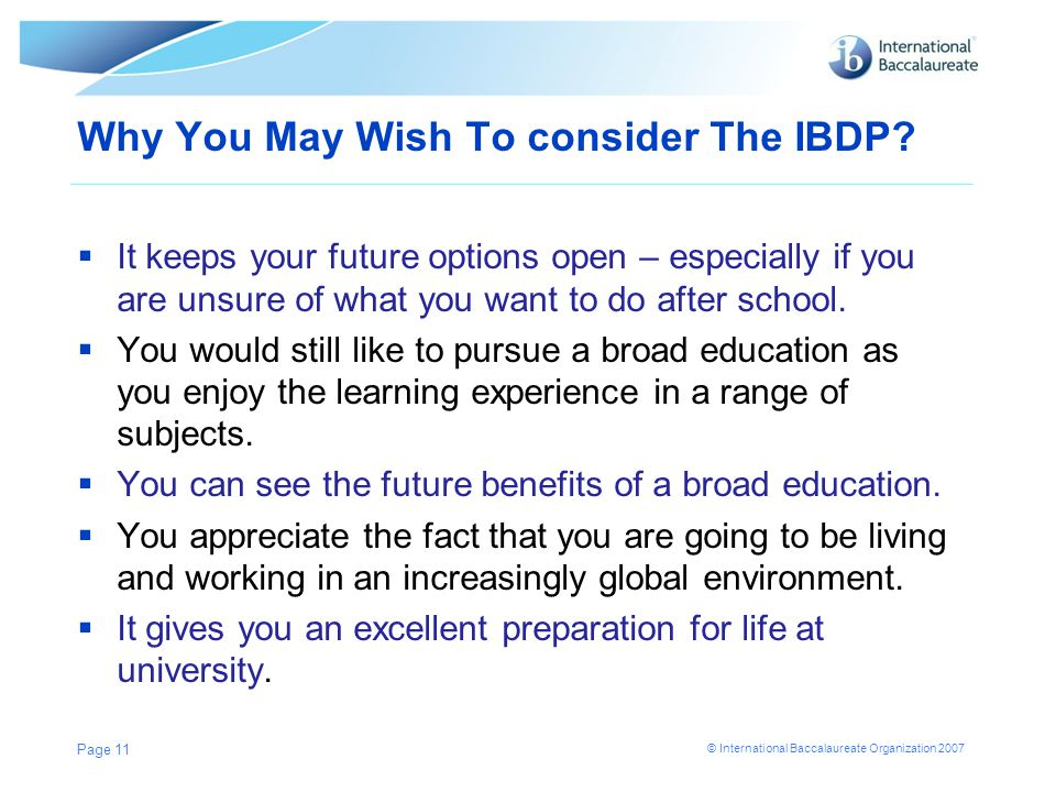 Why You May Wish To consider The IBDP