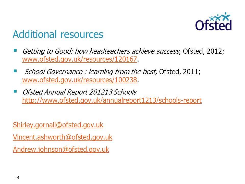 Additional resources Getting to Good: how headteachers achieve success, Ofsted, 2012; www.ofsted.gov.uk/resources/120167.