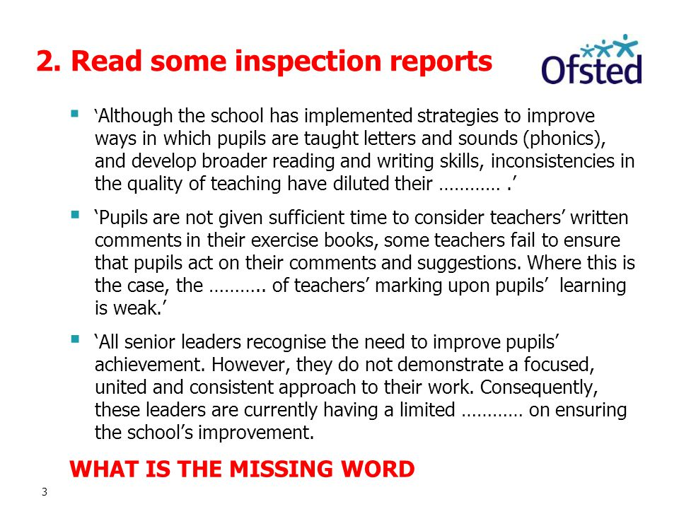 2. Read some inspection reports