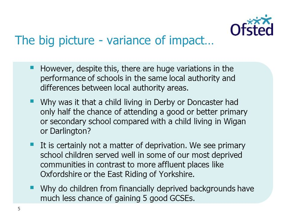 The big picture - variance of impact…