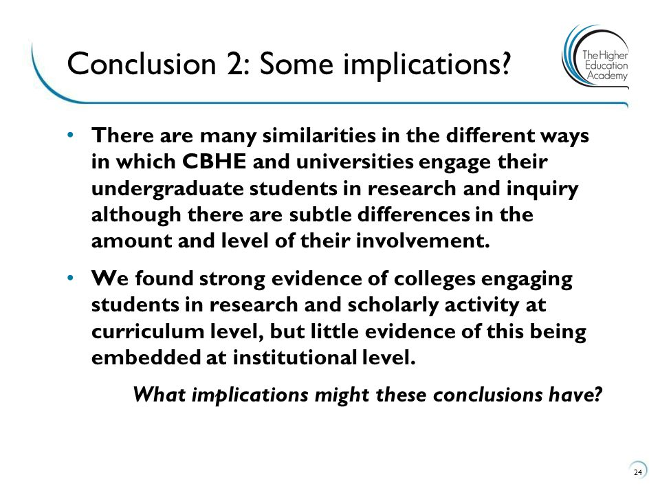 Conclusion 2: Some implications