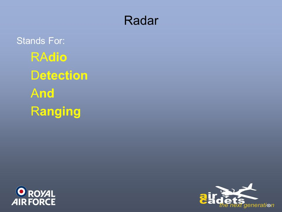 Radar Stands For: RAdio Detection And Ranging