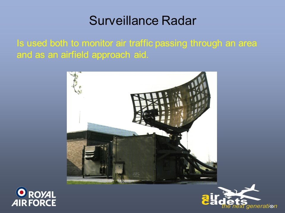 Surveillance Radar Is used both to monitor air traffic passing through an area and as an airfield approach aid.