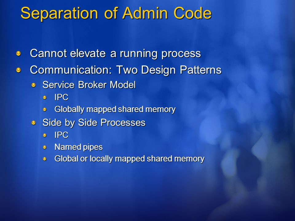 Separation of Admin Code
