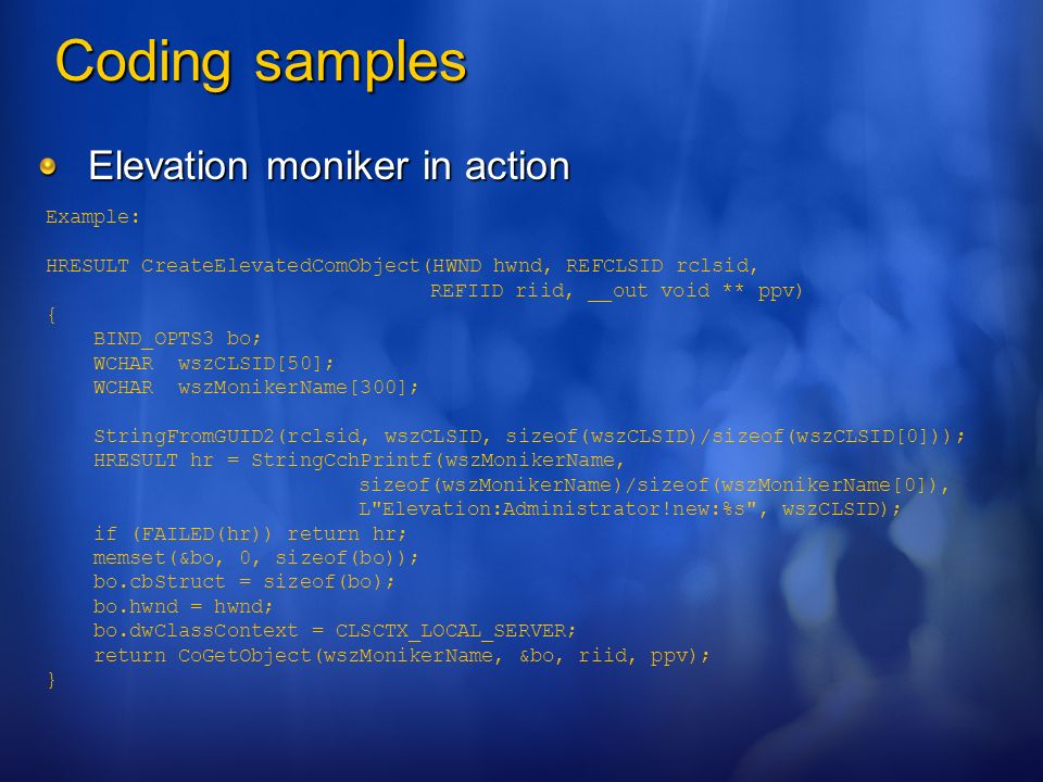 Coding samples Elevation moniker in action Example: