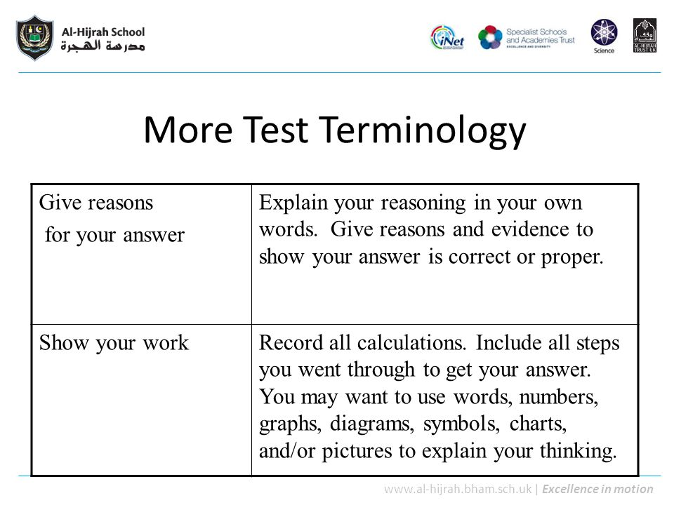 More Test Terminology Give reasons for your answer