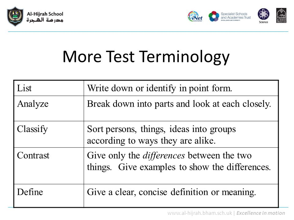 More Test Terminology List Write down or identify in point form.