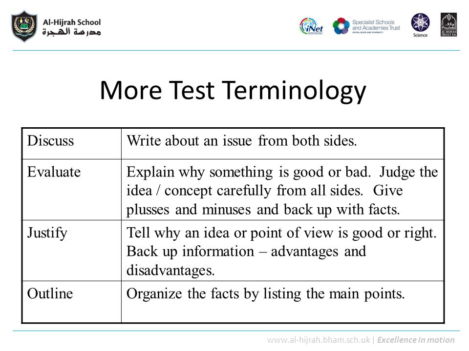 More Test Terminology Discuss Write about an issue from both sides.