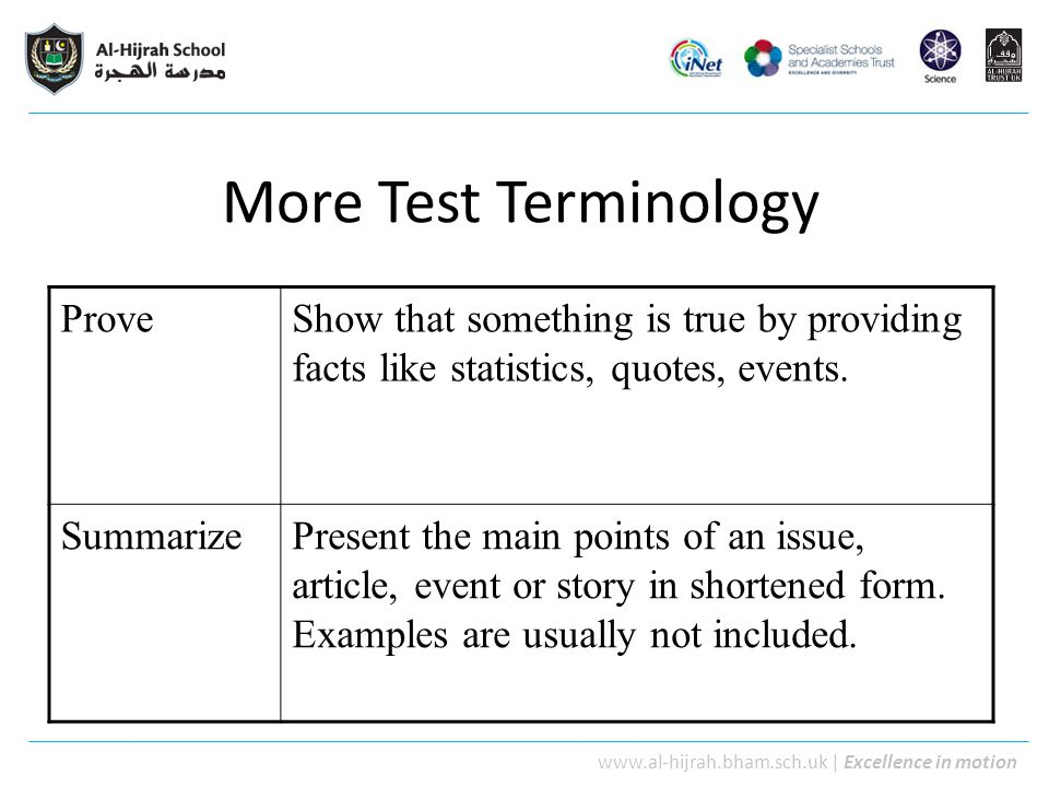 More Test Terminology Prove