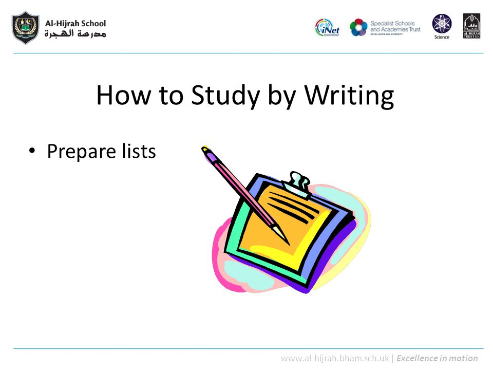 How to Study by Writing Prepare lists