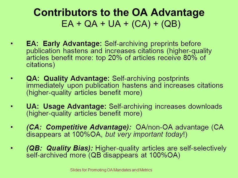Contributors to the OA Advantage EA + QA + UA + (CA) + (QB)
