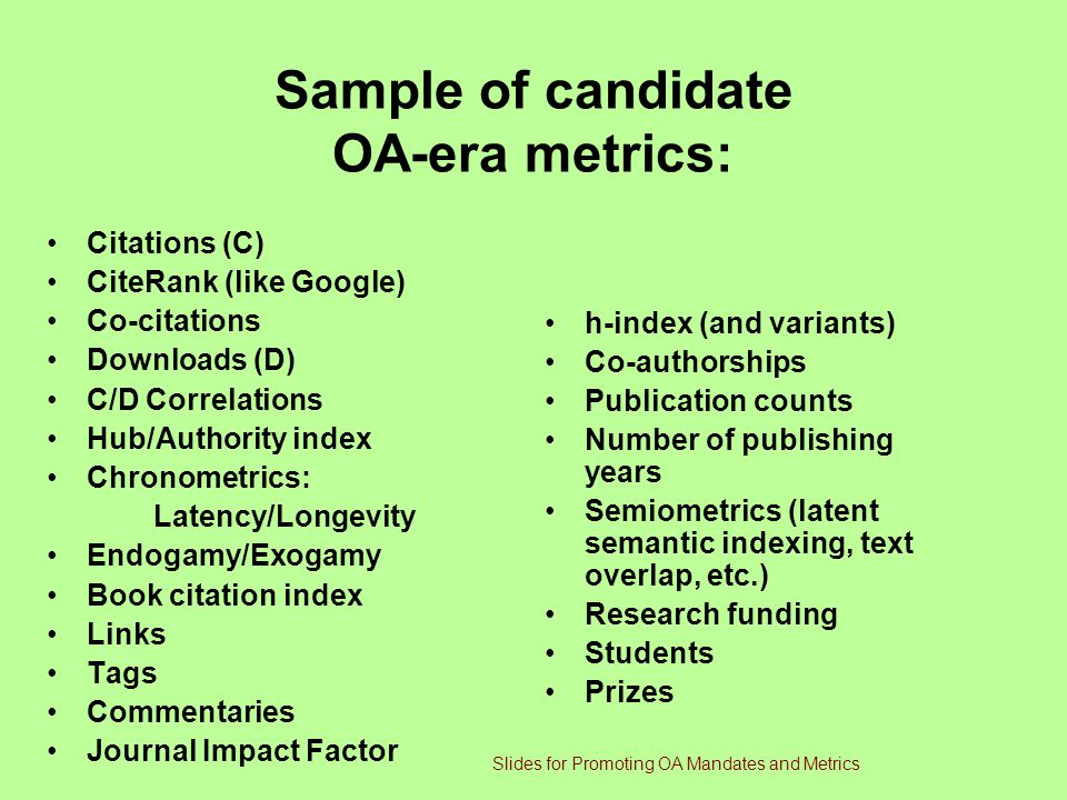 Sample of candidate OA-era metrics: