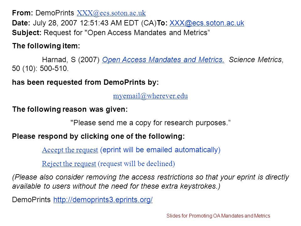 From: DemoPrints XXX@ecs.soton.ac.uk