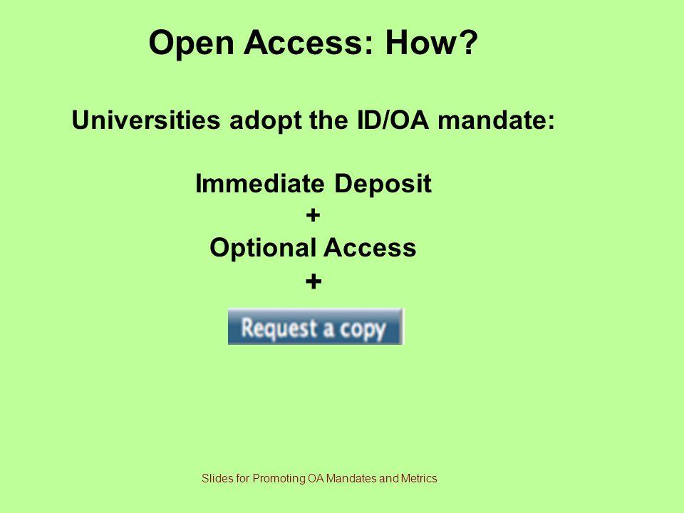 Universities adopt the ID/OA mandate:
