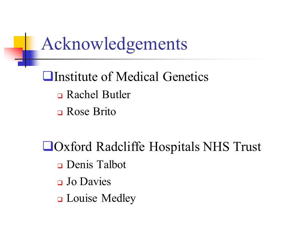 Acknowledgements Institute of Medical Genetics