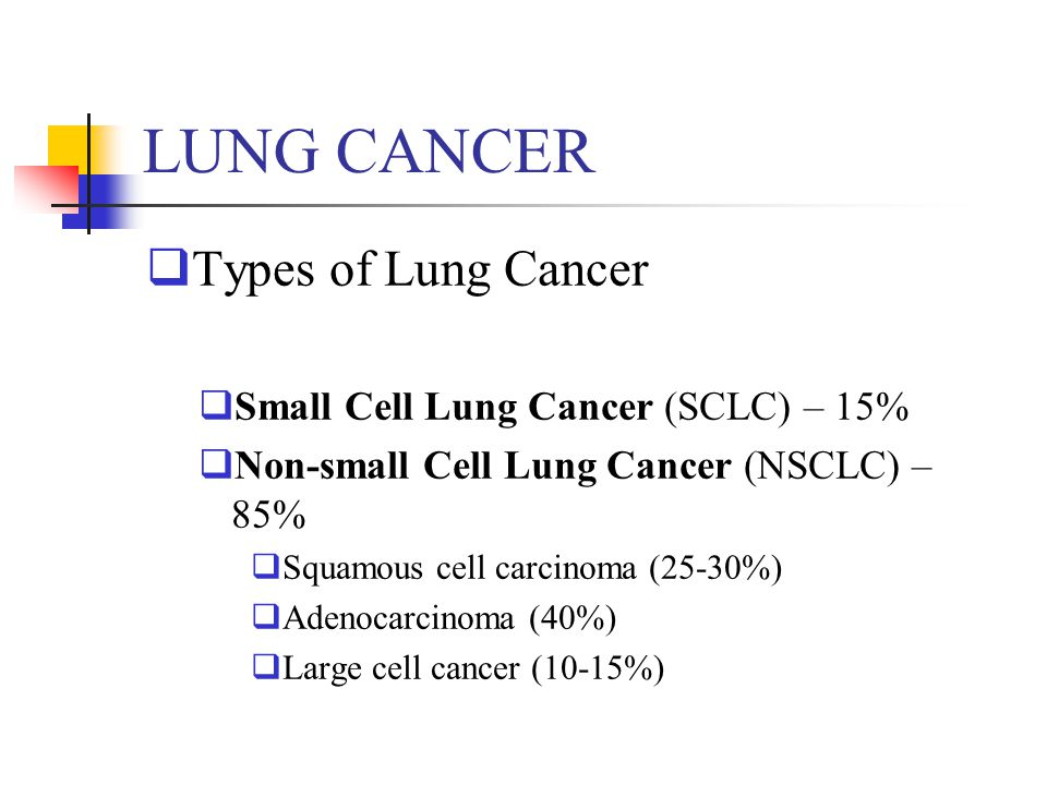 LUNG CANCER Types of Lung Cancer Small Cell Lung Cancer (SCLC) – 15%