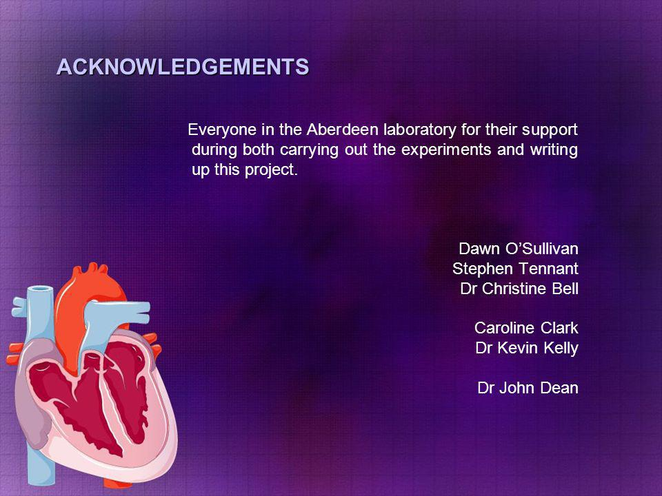 ACKNOWLEDGEMENTS Everyone in the Aberdeen laboratory for their support during both carrying out the experiments and writing up this project.