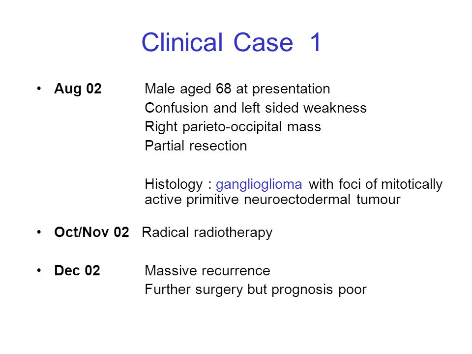 Clinical Case 1 Aug 02 Male aged 68 at presentation