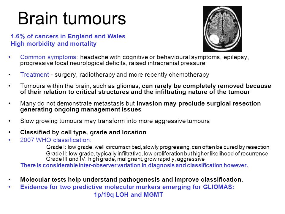 Brain tumours 1.6% of cancers in England and Wales