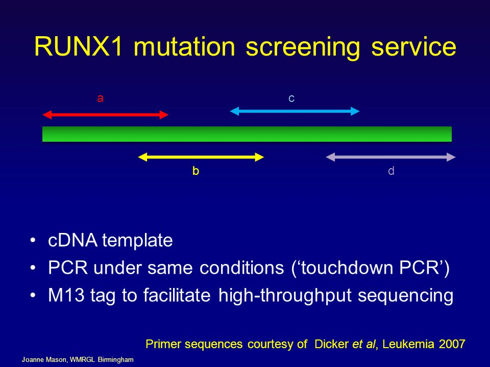 RUNX1 mutation screening service