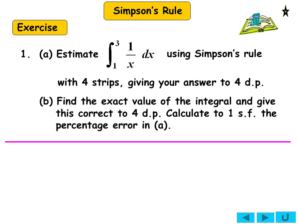 Exercise 1. (a) Estimate. using Simpson's rule. with 4 strips, giving your answer to 4 d.p.