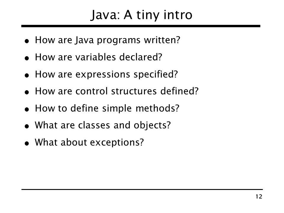 Java: A tiny intro How are Java programs written