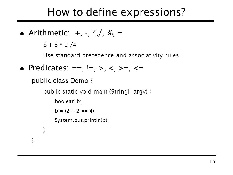 How to define expressions