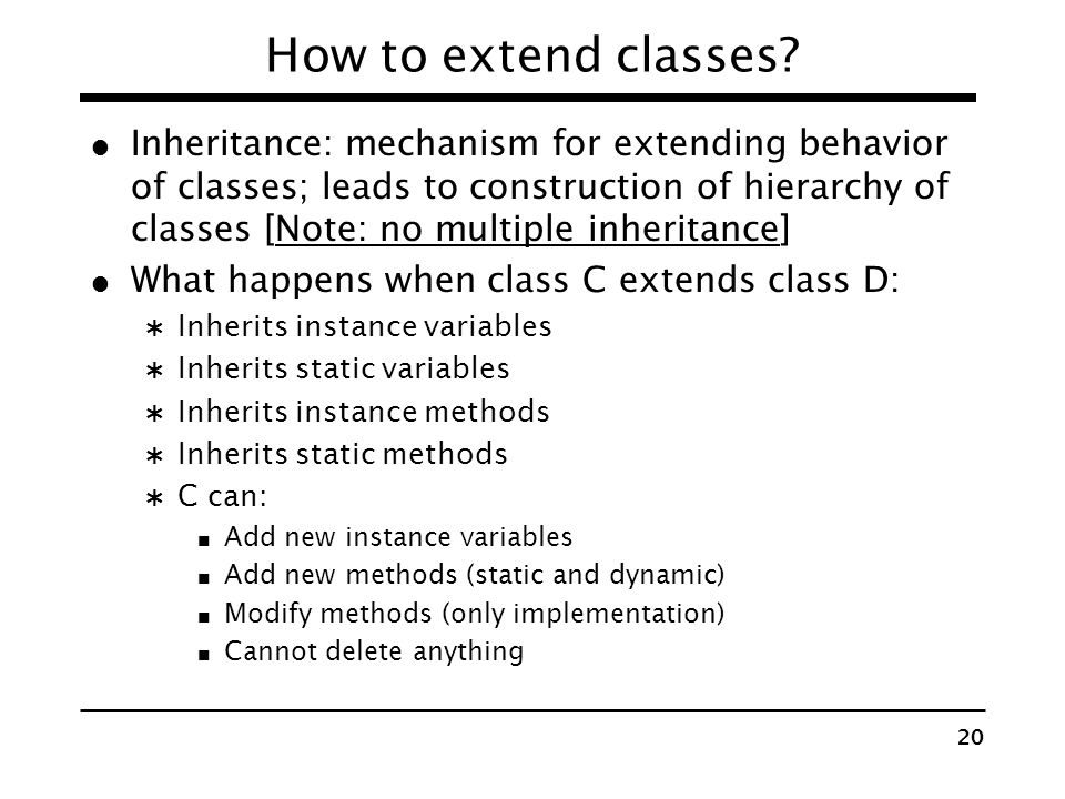 How to extend classes