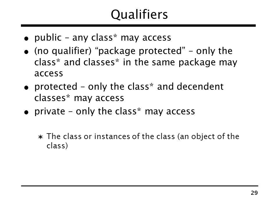 Qualifiers public – any class* may access