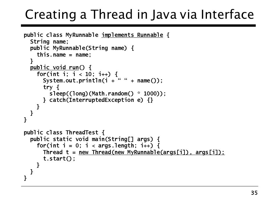 Creating a Thread in Java via Interface