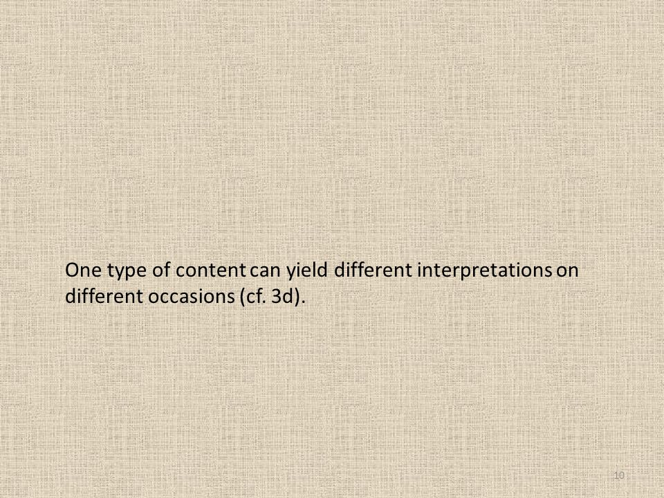 One type of content can yield different interpretations on different occasions (cf. 3d).