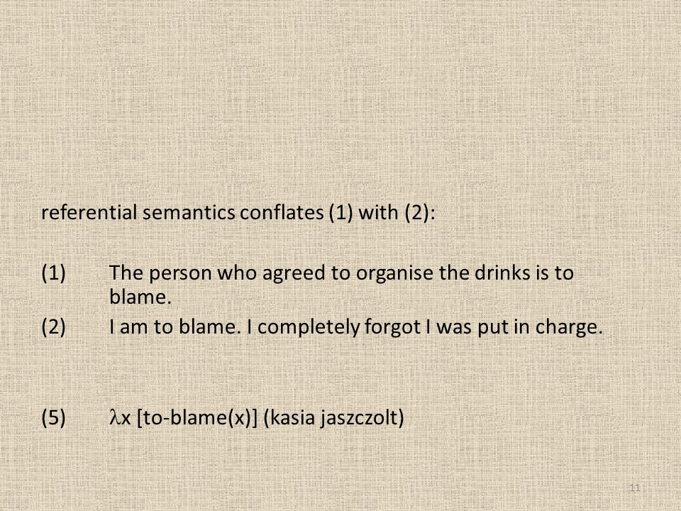 referential semantics conflates (1) with (2): (1) The person who agreed to organise the drinks is to blame.
