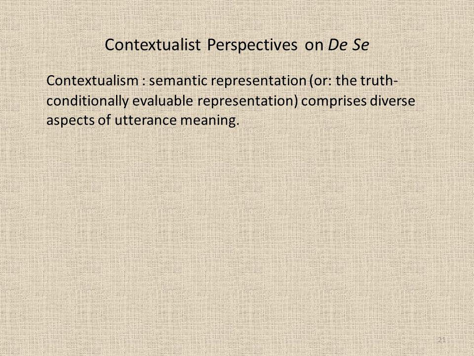 Contextualist Perspectives on De Se