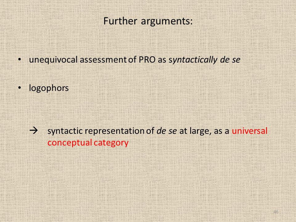 Further arguments: unequivocal assessment of PRO as syntactically de se. logophors.