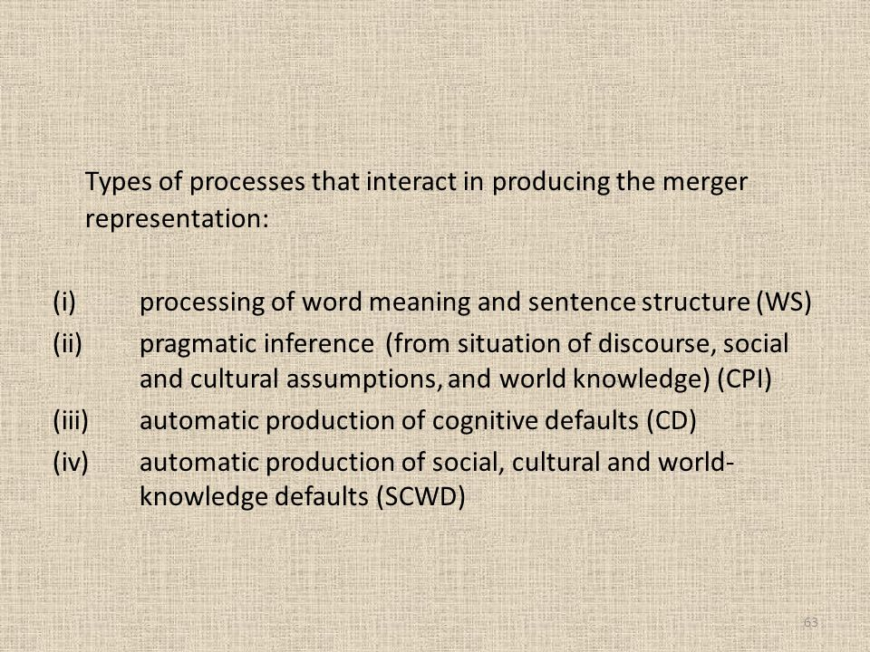 Types of processes that interact in producing the merger representation: