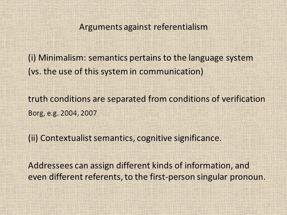 Arguments against referentialism