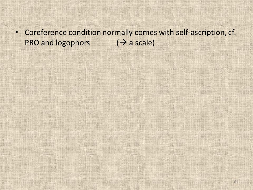 Coreference condition normally comes with self-ascription, cf