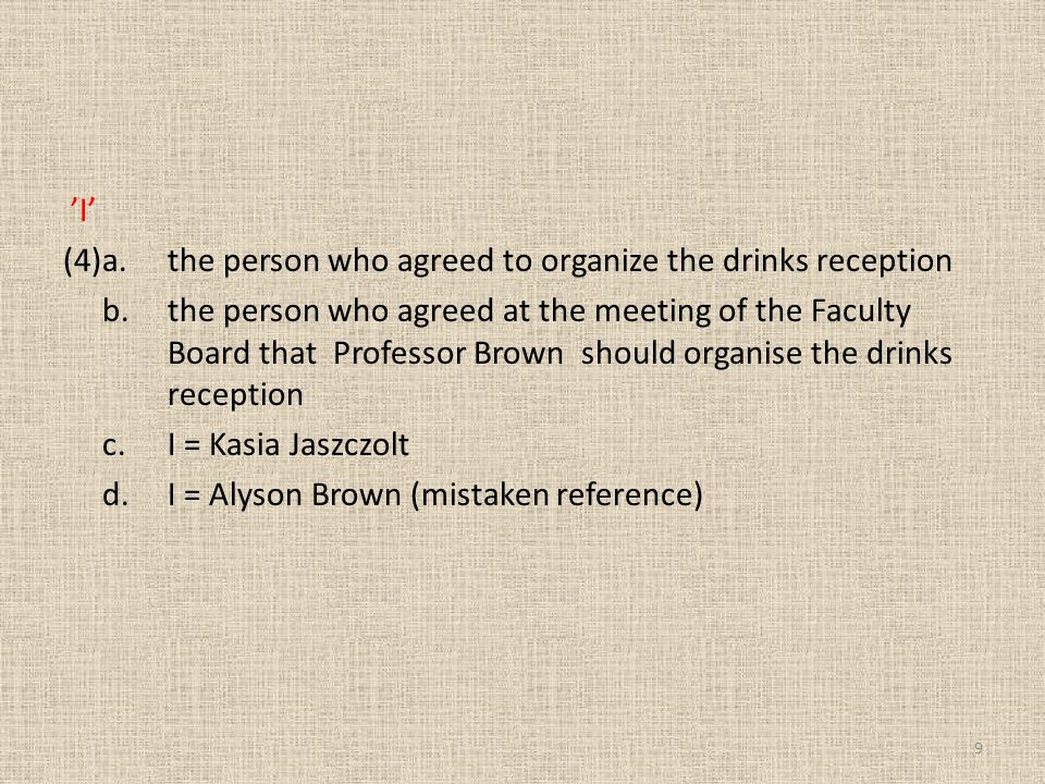 'I' (4) a. the person who agreed to organize the drinks reception b