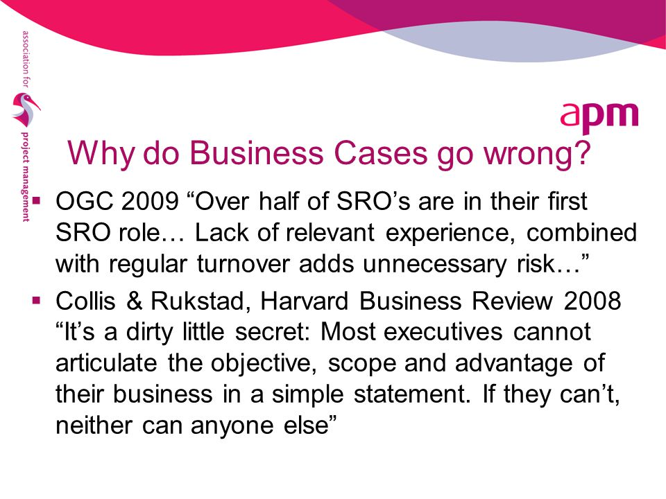 Why do Business Cases go wrong